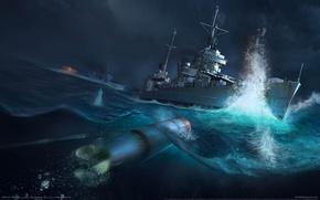 Обои море, взрыв, торпеда, эсминец, World of Warships, Battle of Tassafaronga, Мир военных кораблей, Бой у ...