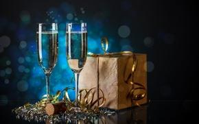 Картинка Christmas, present, champagne, Celebrate