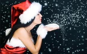 Обои Новый Год, снежинки, Девушка