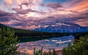 Картинка закат, озеро, отражение, гора, Канада, Бнаф