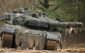 Картинка лес, деревья, танк, Leopard 2A6