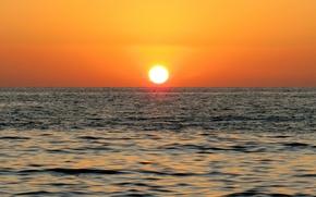 Картинка beach, sky, sea, ocean, landscape, nature, sunset, water, clouds, sun, sunrise, orange, gulf, iran, darya, …