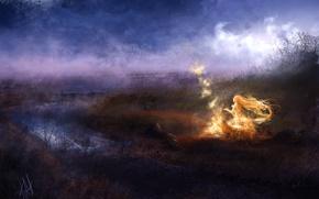 Картинка девушка, ночь, туман, река, огонь, магия, арт