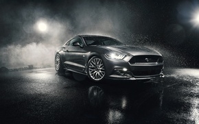 Картинка Mustang, Ford, Front, 5.0, Silver, Musle, Watersplash