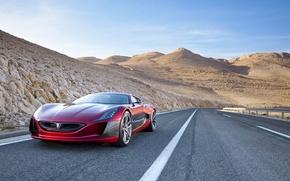 Картинка пустыня, трасса, суперкар, Concept One, Rimac