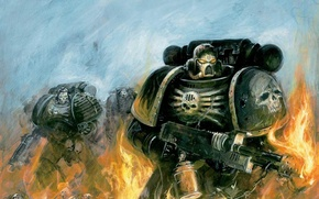 Картинка пламя, flame, Warhammer, космодесант, Warhammer 40k, space marines