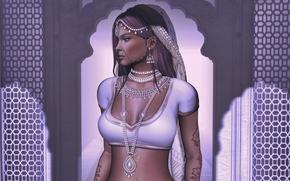 Картинка девушка, лицо, стиль, фон, тело