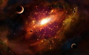Обои планеты, свет, галактика, центр, космос, туманность