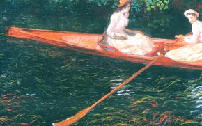 Картинка картина, Клод Моне, жанровая, Розовая Лодка. Гребля на Реке Эпт