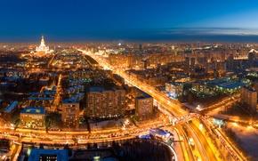 Обои дорога, ночь, огни, Москва