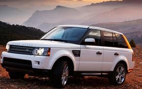 Картинка авто, белый, закат, горы, машины, тачки, range rover