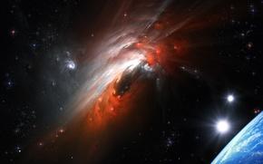 Обои Cosmic Storm, столкновение галактик, космический шторм