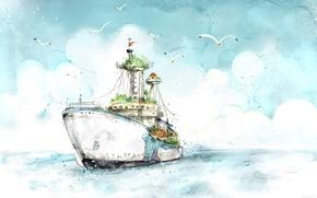 Картинка Рисунок, Корабль, Чайки