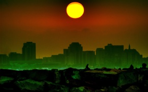 Картинка солнце, здания, дымка