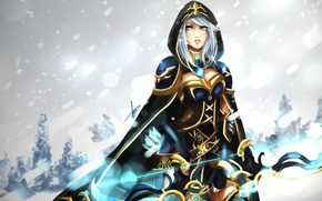 Картинка зима, девушка, снег, лук, капюшон, стрелы, league of legends, ashe