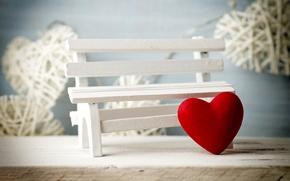 Картинка скамейка, сердце, love, heart, romantic, Valentine's Day