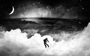 Картинка Человек, луна, полет, ч/б, небо, звезды, облака