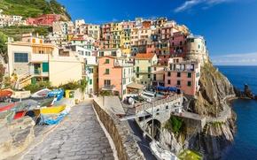 Картинка скалы, дома, лодки, Италия, Манарола, Чинкве-Терре, Лигурийское побережье