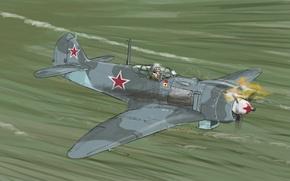 Картинка Рисунок, Самолет, Истребитель, Авиация, La-5FN