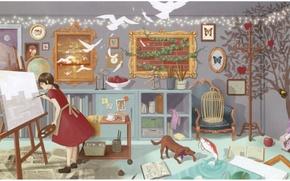 Картинка комната, волшебство, яблоки, рама, книги, рыбка, собака, клетка, Девочка, картины, палитра, кисть, мольберт