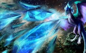 Картинка снег, дракон, башня, лёд, арт, Dota 2, kovah, Winter Wyvern, Auroth