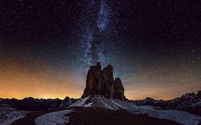 Картинка космос, звезды, свет, горы, горизонт, загадка, Млечный Путь