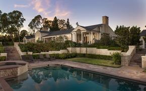 Картинка вилла, бассейн, сад