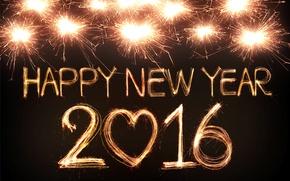 Картинка огни, салют, Новый Год, golden, New Year, fireworks, Happy, 2016