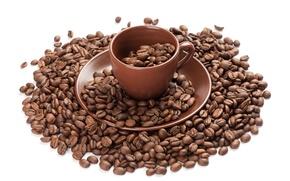 Картинка чашка, кофейные зерна, блюдце, Cup, coffee beans, saucer