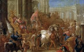 Обои картина, жанровая, Триумф Цезаря, Шарль Лебрён