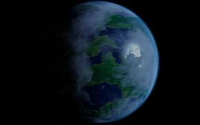 Картинка космос, звезды, поверхность, планета