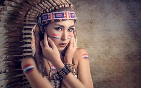 Картинка перья, макияж, раскраска, Saipan, головной убор, Chakrit Chanpen, Thai Model