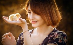 Картинка девушка, настроение, цыплёнок