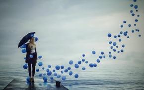 Картинка девушка, шары, зонт