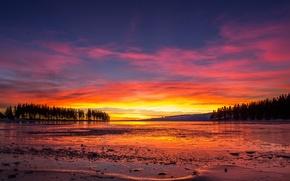 Картинка лед, озеро, ice, lake, красное небо, red sky, trees sunset, деревья закат