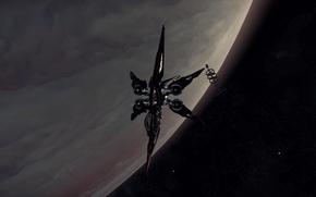 Картинка космос, поверхность, планета, станция, звездолет, Star Citizen, Khartu-Al