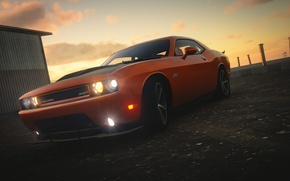 Картинка Dodge Challenger, Lights, The Crew, Sun Set, Brutal