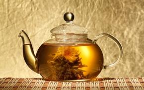 Картинка цветок, чай, чайник, лотос, китайский, циновка, вязанный