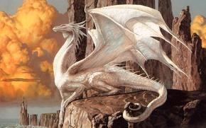 Обои дракон, утес, знаки, скалы, белый, берег, облака