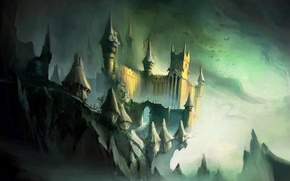 Картинка птицы, ночь, скалы, Замок, хижины, башни