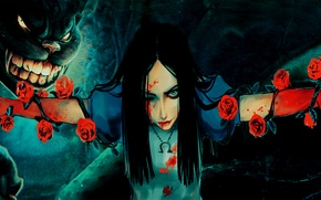 Картинка девушка, кровь, Алиса, girl, blood, чеширский кот, Alice, Alice Madness Returns