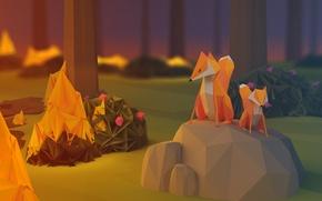 Картинка лес, пожар, огонь, вечер, лисы