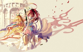 Картинка оружие, девушки, арт, нож, ружье, vofan, toki, towa, toki to towa