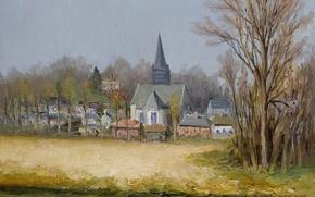 Картинка пейзаж, река, башня, дома, картина, Марсель Диф, The Belfry over the Fleuve