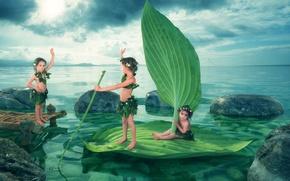 Обои дети, озеро, девочки, The Farewell