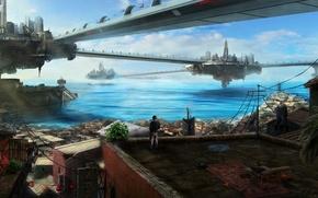 Картинка крыша, море, вода, мост, город, будущее, здания, арт, парень