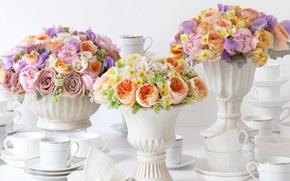 Картинка цветы, розы, нарциссы, вазы, букеты, ранункулюс, сервировка, фарфор