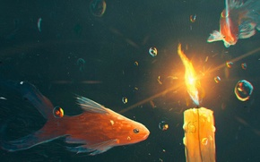 Картинка свет, пузырьки, свеча, рыба, под водой