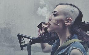 Картинка Girl, Star, Smoke, Hair, Cigaret, Gun Tattoo