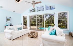 Картинка windows, summer, pool, garden, painting, living room, palm trees, cushions, sunny, doors, sofas, ceiling fan